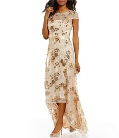 Adrianna Papell Sequin Hi-Low Short Sleeve Gown   Dillards