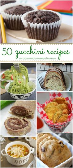 50 Zucchini Recipes: Fifty great ways to use all those zucchinis from the garden or farmer's market. I Love Food, Good Food, Yummy Food, Tasty, Vegetable Dishes, Vegetable Recipes, Zucchini Cookies, Zucchini Banana, Zucchini Muffins