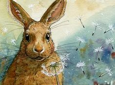 Rabbit Framed Prints - Lovely Rabbits - With dandelions Framed Print by Svetlana Ledneva-Schukina