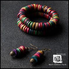 ست دو عدد دستبند رنگارنگ چوبی + یک جفت گوشواره - متین.اند.سیس matin.and.sis