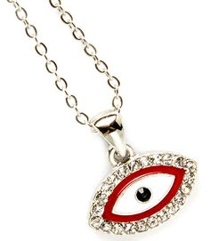 """This necklace has a pendant shaped like an eye surrounded by clear, crystal studs. The pendant is enamel construction and approximately 10mm. The necklace is nickel and lead compliant. Size: 18"""" Long - Color: Red/Silver $10.99"""