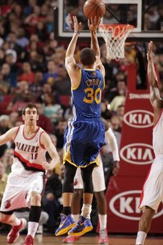 Looks like another angle of the record-tying three pointer (269). Congratulations to Stephen Curry for nailing down the all-time record for most three-pointers in a single season (272) (April 17, 2013 | Golden State Warriors @ Portland Trail Blazers | The Rose Garden in Portland, Oregon)