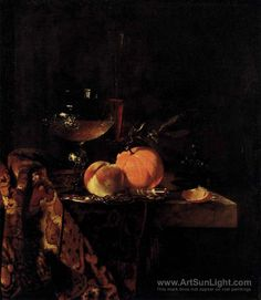 KALF, Willem Dutch painter (b. Amsterdam) Still-Life with Glass Goblet and Fruit c. 1655 Oil on canvas, 65 x 56 cm Staatliche Museen, Berlin Dutch Still Life, Still Life Art, Oil Painting On Canvas, Canvas Art Prints, Fine Art Prints, Dutch Painters, Painting Still Life, Old Paintings, Art For Sale