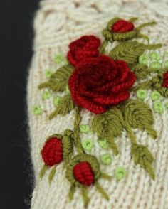 Ivory Gloves With Red Roses, Knitted Fingerless Gloves, Rose, Clothing And Accessories, Gloves & Mit Green Dot, Red Green, Mitten Gloves, Mittens, Rose Clothing, Embroidered Roses, Fingerless Gloves Knitted, Knitting Accessories, Acrylic Colors