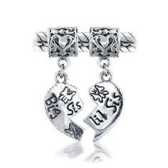 Bling Jewelry .925 Sterling Silver Big Sis Little Sis Heart Dangle Bead Fits Pandora Chamilia Troll Biagi $24.99.  Would make a great gift for my nieces!