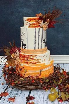 wedding cakes autumn Fall Wedding Cakes That WOW fall wedding cakes with deer decorated with yellow leaves and branches viva la cake via Autumn Wedding Cakes, Fruit Wedding Cake, Wedding Cake Rustic, Wedding Cakes With Cupcakes, Beautiful Wedding Cakes, Beautiful Cakes, Cupcake Cakes, Autumn Cake, Nature Wedding Cakes
