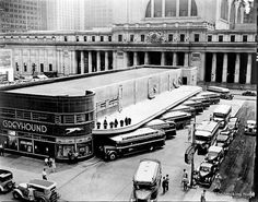 The original Greyhound Bus Terminal was steps from New York's Penn Station at 34th and Eight Avenue, as seen in this fab image taken July 14, 1936, by Berenice Abbott. Today, buses run from the uninspired ironworks Port Authority Bus Terminal at 44th Street and Eighth Avenue.