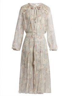 ZIMMERMANN Stranded Long-Sleeved Silk Midi Dress. #zimmermann #cloth #dress