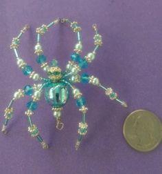 Christmas-Spider-Ornament-Swarovski-Glass-Aqua-Blue-Handbeaded-Sun-catcher