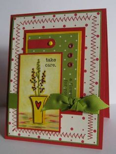 A Flower For Pam using Stampin Up Vases in Vogue and eyelets Homemade Greeting Cards, My Dear Friend, Stamping Up, Cardmaking, Vases, Embellishments, Card Ideas, Stitching, Projects To Try