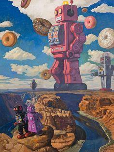 Galleries for Gallery Artist Eric Joyner Painter of Robot and Donuts Artwork Ufo, Eric Joyner, Japanese Poster Design, Steampunk, Retro Robot, Retro Futuristic, Science Fiction Art, Ap Art, Sci Fi Art