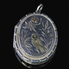 ANTIQUE VICTORIAN SILVER GOLD OWL BUTTERFLY LOCKET CIRCA 1880 in Jewellery & Watches, Vintage & Antique Jewellery, Vintage Fine Jewellery | eBay