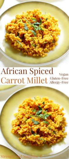 African Spiced Carrot Millet (Gluten-Free, Vegan, Allergy-Free) | Strength and Sunshine @RebeccaGF666 A quick & easy whole grain side dish that packs in the flavor! An African Spiced Carrot Millet recipe that's gluten-free, vegan, and top 8 allergy-free. Fluffy millet with carrot puree, carrot greens, cilantro, and fragrant savory African spices! #millet #glutenfree #vegan #turmeric #carrot #sidedish #african #easyrecipe