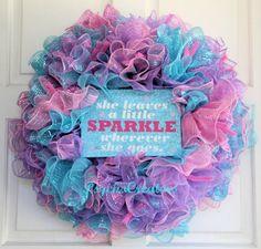 Girl Deco Mesh Wreath  Princess Sparkle Ruffle by PsychoCreators