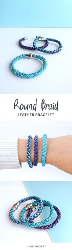 Diy Crafts  :   Illustration   Description   Learn How to Make a 4 Strand Round Braid and Create These Braided Leather Friendship Bracelets – Curly Made #diy #crafts #bracelets     Crafting is just…Fun!     -Read More –   - #DIYCrafts