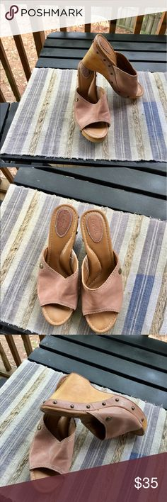 """Fossil Lena Mule Wedge Sandal """"Brand New"""" without the box leather, fossil mule/sandal Fossil Shoes Sandals"""