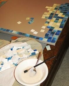 watercolor mosaic with thrifted canvas #DIY #art #craft #watercolor #reuse #repurpose #recycle