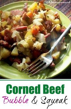 Corned Beef Bubble and squeak is a great way to make use of those wonderful corned beef and cabbage leftovers. My mom used to call this dish corn beef hash. Irish Recipes, Beef Recipes, Cooking Recipes, Sweets Recipes, Beef Meals, Scottish Recipes, Desserts, Recipe For Bubble And Squeak, A Food