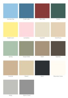 Metro Paint swatches...Tuscan olive house, barn red doors, seashell trim.  Cedar shingles on garage.