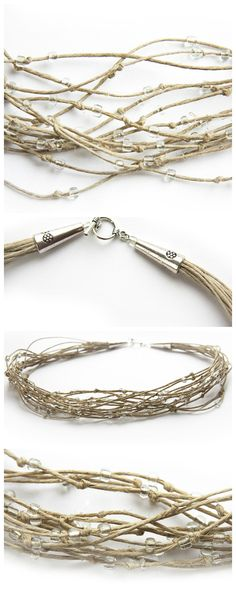 Eco Friendly Rustic Boho Necklace, Natural Polished Soft Hemp in Cream Shades. Multi Strand Necklace. Clear Beads. Bird Nest dew branches