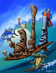 Tiki, Tiki Art, Crazy-Tiki-Paintings,Hawaii Tribal Art, Tiki Paintings
