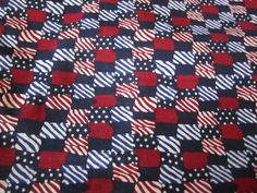 Squares of Red/White and Blue by FloridaFriends on Etsy