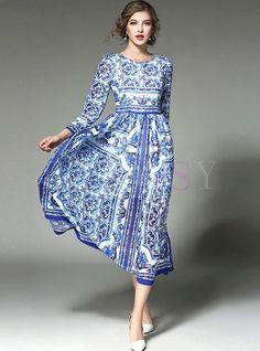 Vestito lungo dalla vita geometrica di stampa etnica Maxi Manica Lunga 756bf89716b