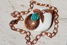 Copper Necklace Handstamped Cross Turquoise by ornatetreasures, $45.00