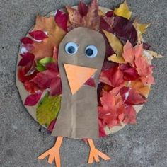 Cute turkey craft. Scout for leaves in the autumn then use them to create your Christmas card design.
