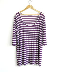 loose fitting striped jersey top purple and white long and comfortable