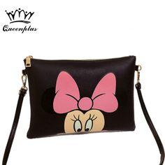 6c47650492aa Женские Hello Kitty сумка Минни Микки сумка кожаные сумки дамы мультфильм  клатч Bolsa feminina Bolsa женские сумки