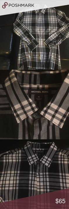 Michael Kors Black Slim Button Down - XL Lightly used men's MK Button Down shirt sized XL. Michael Kors Shirts Casual Button Down Shirts
