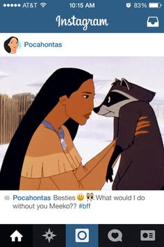 "He loves you for who you are. 17 Reasons Why Meeko From ""Pocahontas"" Is The Best Sidekick Ever Disney Pocahontas, Disney Nerd, Disney Girls, Disney Love, Disney Magic, Disney Princesses, Disney Stuff, Princess Pocahontas, Punk Disney"