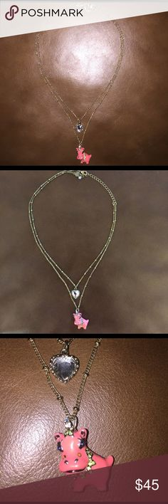 Hippo heart necklace Double chain necklace with two adorable charms in excellent condition Betsey Johnson Jewelry Necklaces