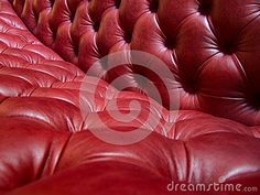 Red leather sofa detail close-up