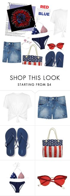 """""""4th of July: Red, White, & Blue Bikini + Star Embroidered Shorts"""" by random11-1 ❤ liked on Polyvore featuring Balmain, Jessica Simpson, Old Navy and fourthofjuly"""