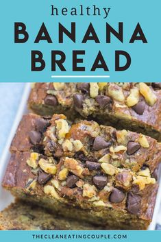 This Healthy Banana Bread Recipe is made with just a few simple, nutritious ingredients like applesauce, honey, whole wheat flour and coconut oil. Easy to make + full of flavor - it's perfect for breakfast or snacking! You can customize it to be gluten free or make it into muffins! It's moist, low sugar, low calorie and delicious! #bananabread #healthy #banana #dessert #chocolate Easy Clean Eating Recipes, Healthy Banana Bread, Healthy Gluten Free Recipes, Healthy Muffins, Healthy Breakfast Recipes, Healthy Snacks, Snack Recipes, Cooking Recipes, Banana Dessert