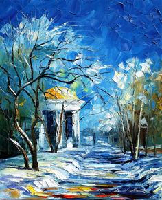 Winter Park — PALETTE KNIFE Oil Painting On Canvas By Leonid Afremov #art #painting #fineart #canvas