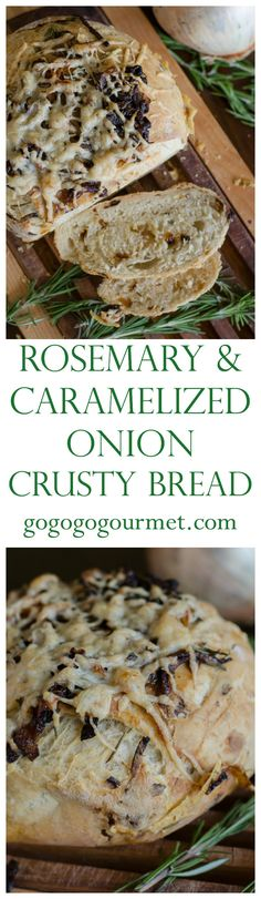 I promise, homemade bread is NOT as daunting as it seems! This easy bread is well worth the minimal work it requires. Rosemary & Caramelized Onion Crusty Bread | Go Go Go Gourmet @gogogogourmet