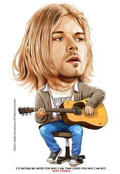 KURT COBAIN by IborArt Funny Caricatures, Celebrity Caricatures, Celebrity Drawings, Music Artwork, Art Music, Jimi Hendrix, Rock Band Posters, Realistic Cartoons, Heavy Metal Art
