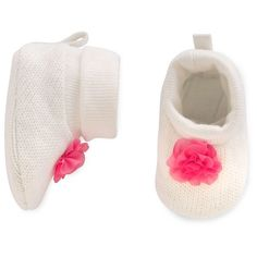 Just One You™Made by Carter's® Baby Girls' Pink Flower Knit Slipper - White NB…