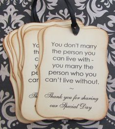 can't live without... thank you wedding favor by LadyDeeCreations, $16.99, Hochzeit