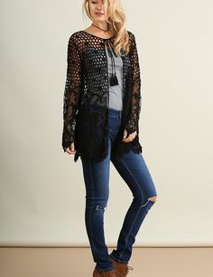 Simply Lace Crochet and Lace Open Front Cardigan Sweater Top Black S M L