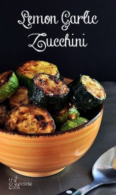 A super fast and tasty summer side dish: Lemon Garlic Zucchini on The Creekside Cook, vegan, gluten-free Side Dish Recipes, Vegetable Recipes, Vegetarian Recipes, Cooking Recipes, Healthy Recipes, Summer Side Dishes, Vegetable Sides, Vegetable Side Dishes, Fingers Food
