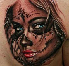 ♡ sugar skull tattoo on chest