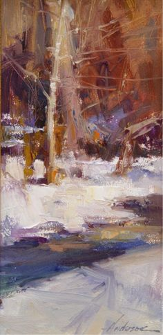 Beaver Creek by Carolyn Anderson Contemporary Landscape, Abstract Landscape, Landscape Paintings, Landscapes, Winter Painting, Oil Painters, Collage, Winter Landscape, Plein Air