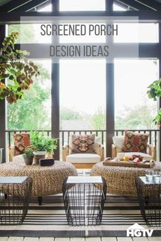 Tour the screened-in porch at HGTV Urban Oasis 2016 for rustic, cozy design ideas to copy in your own home. >> http://www.hgtv.com/design/hgtv-urban-oasis/2016/screened-porch-pictures-from-hgtv-urban-oasis-2016-pictures?soc=pinterest