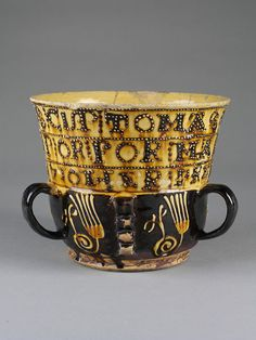 'TOMAS DAKIN MADE TIS CUP FOR MARY SCULLTHARP OR HER FREND AB 1710'