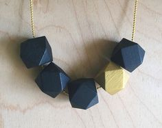 Geometric Wood Bead Necklace Turquoise and by TheCurlyHairedFox