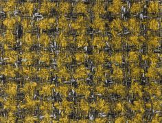 SEDGE MOHAIR TWEED SAMPLE, 1964. Double cloth houndstooth fabric, woven in looped brushed mohair, wool, wool knop and polyester yarns, in yellow, black, green, brown and grey.